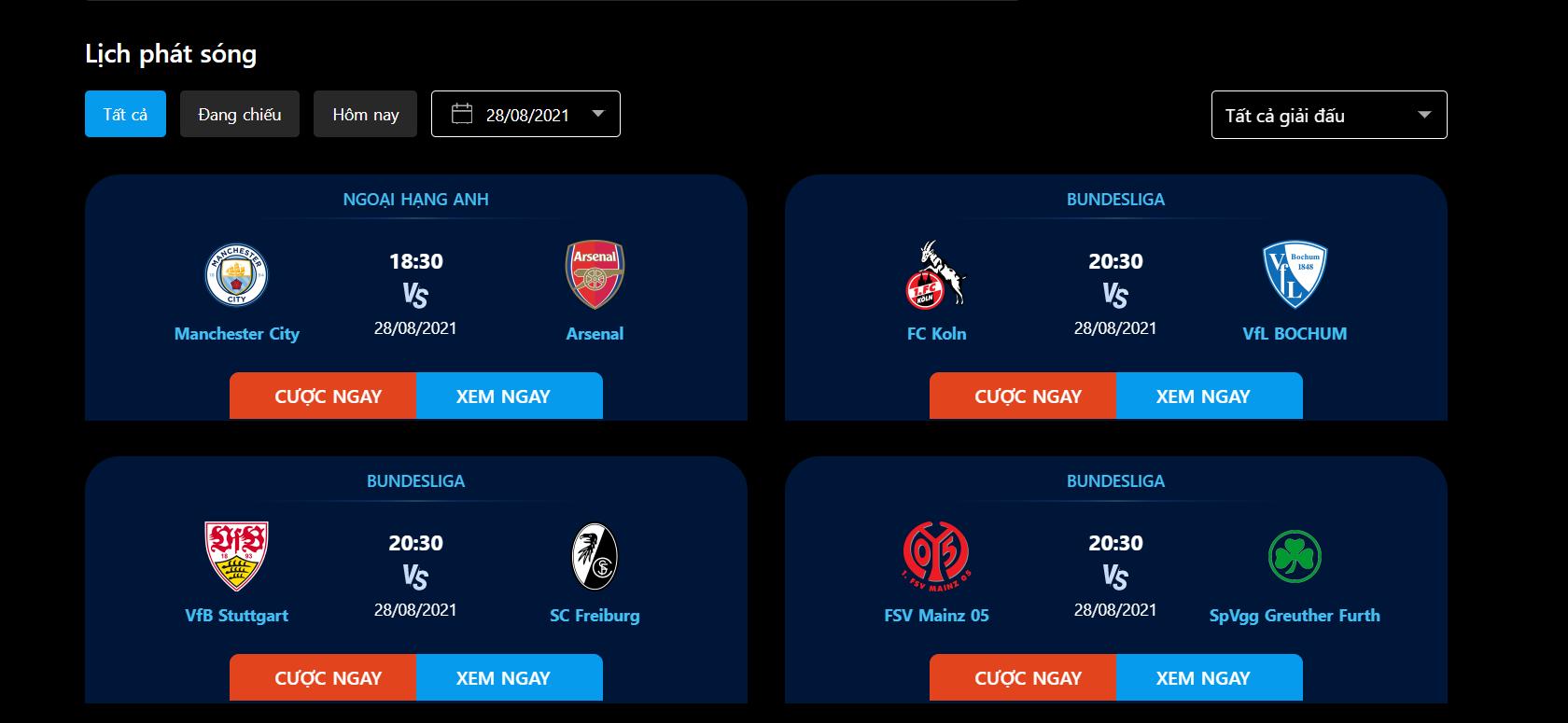 Xem trực tiếp bóng đá online ở 123vao